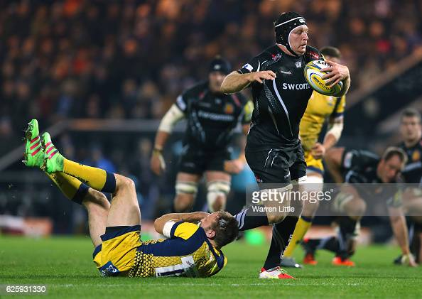 Thomas Waldrom of Exeter Chiefs makes a break during the Aviva Premiership match between Exeter Chiefs and Worcester Warriors at Sandy Park on...
