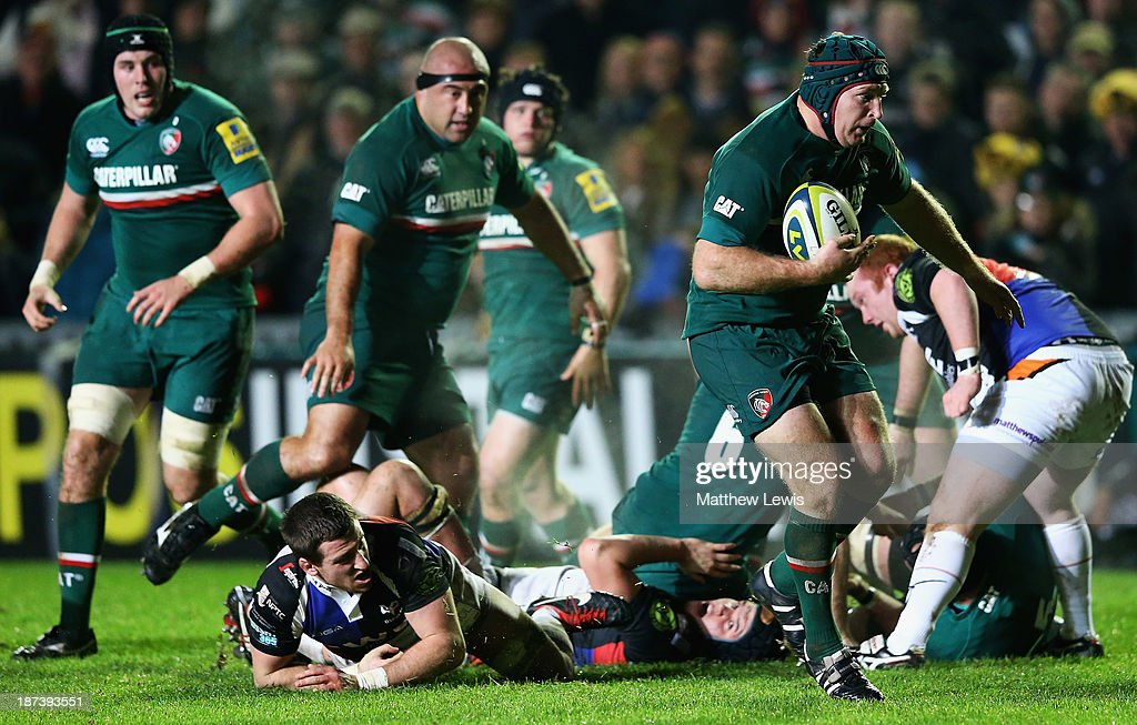 <a gi-track='captionPersonalityLinkClicked' href=/galleries/search?phrase=Thomas+Waldrom&family=editorial&specificpeople=561813 ng-click='$event.stopPropagation()'>Thomas Waldrom</a> of the Leicester Tigers breaks through the Osprey defence to score a try during the LV=Cup match between Leicester Tigers and Ospreys at Welford Road on November 8, 2013 in Leicester, England.