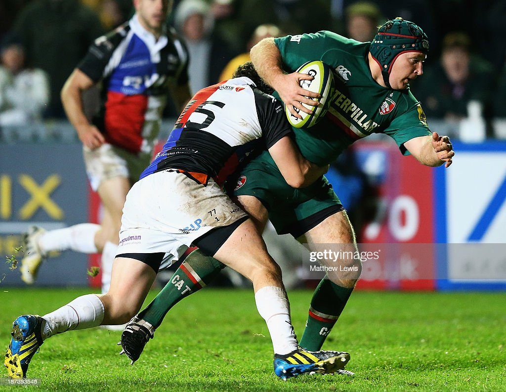 <a gi-track='captionPersonalityLinkClicked' href=/galleries/search?phrase=Thomas+Waldrom&family=editorial&specificpeople=561813 ng-click='$event.stopPropagation()'>Thomas Waldrom</a> of the Leicester Tigers scores a try during the LV=Cup match between Leicester Tigers and Ospreys at Welford Road on November 8, 2013 in Leicester, England.