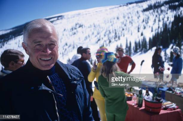Thomas Watson Jr president of IBM attending a party on the slopes at Snowmass Village in Pitkin County Colorado in March 1968