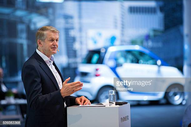 Thomas Weber head of group research and MercedesBenz cars development at Daimler AG speaks during Daimler's TecDay Road to the Future event in...