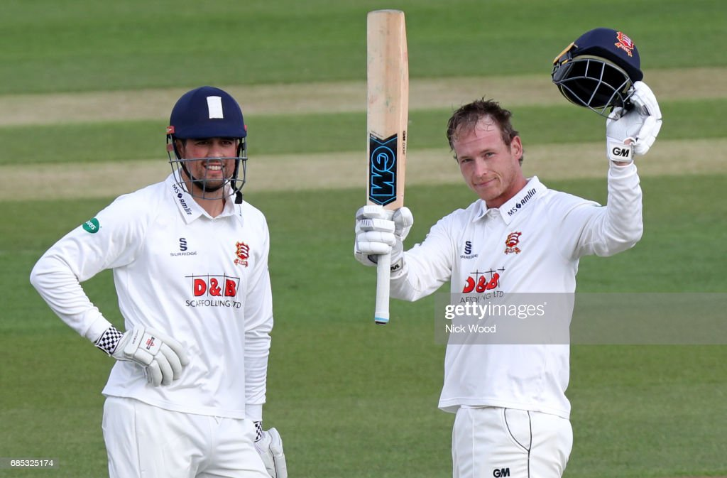 Thomas Westley of Essx celebrates scoring a century during the Essex v Hampshire - Specsavers County Championship: Division One cricket match at the Cloudfm County Ground on May 19, 2017 in Chelmsford, England.