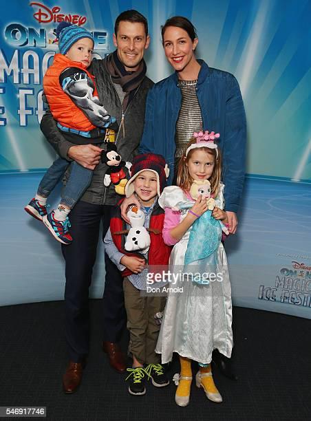 Thomas whalan Elka Whalan Presley Whalan Edison Whalan and Nevada Whalan arrive ahead of the Disney On Ice premiere at Qudos Bank Arena on July 13...
