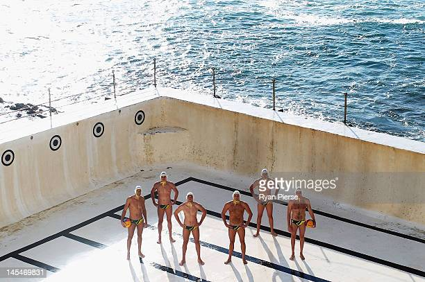 Thomas Whalan Joel Dennerley James Clark Aidan Roach Johnno Cotterill and Richie Campbell of the Australian Waterpolo Team pose during an Australian...
