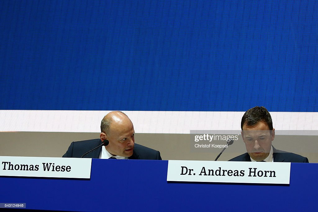 Thomas Wiese, supervisory board and Andreas Horn, supervisory board attend the FC Schalke 04 general assembly at Veltins Arena on June 26, 2016 in Gelsenkirchen, Germany.