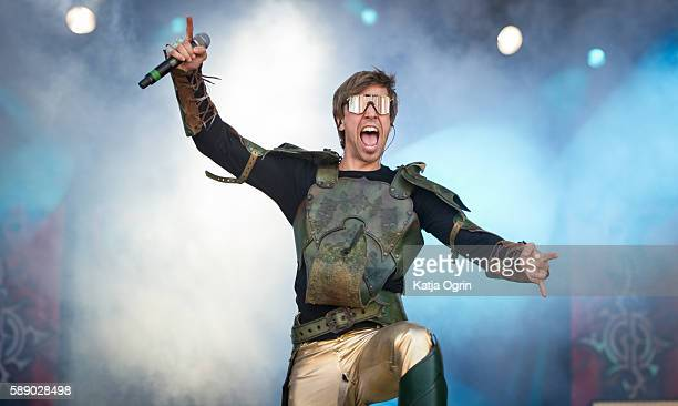 Thomas Winkler of Gloryhammer performs live on stage at Bloodstock Festival at Catton Park on August 12 2016 in Burton upon Trent England