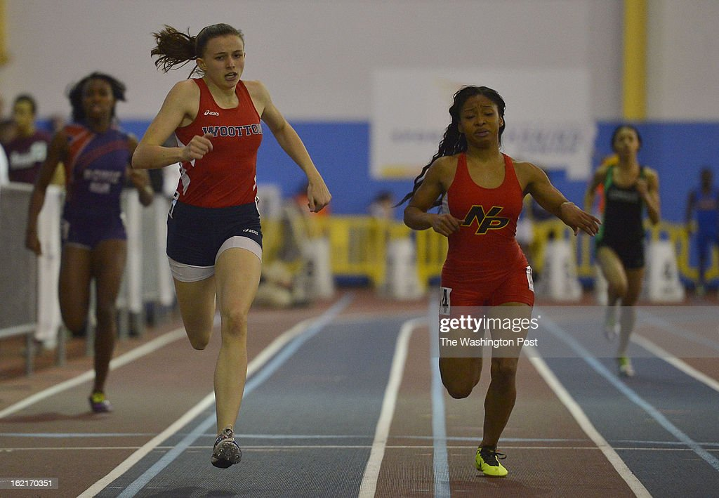 Thomas Wootton High School's Gwen Shaw, second left, edges out North Point High School's Mercedes Tillman, second from right, to win the 4A Girls 300 Meter Dash with a time of 39.72 during the Maryland 3A/4A Indoor Track Championships at the Prince George's Sports and Learning Complex on February 19, 2013 in Landover, Md.
