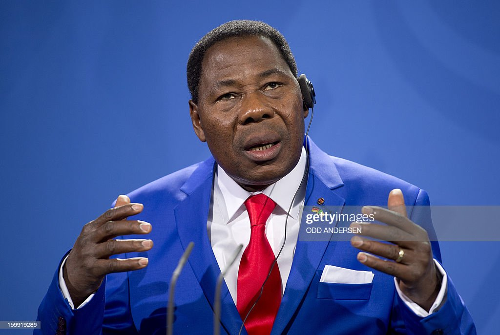 Thomas Yayi Boni , President of Benin reacts during a joint press conference with German Chancellor Angela Merkel (not in pic) after their meeting at the Chancellery in Berlin to discuss the situation in Mali on January 23, 2013.Boni praised the 'remarkable work' of the French military in Mali, saying its troops were 'practically saving' Africa.AFP PHOTO / ODD ANDERSEN