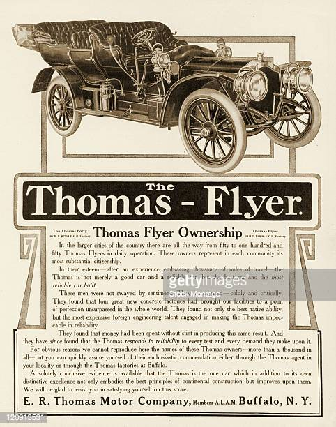 A ThomasFlyer automobile is shown in a magazine advertisement from 1907 The ad claims that more than onethousand people own Thomas cars
