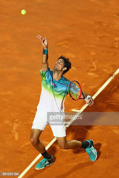 Thomaz Bellucci of Brasil in action against Novak Djokovic of Serbia during day five of The Internazionali BNL d'Italia 2016 on May 12 2016 in Rome...