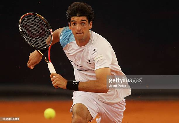 Thomaz Bellucci of Brasil returns a backhand during his Quarter Final match against Andreas Seppi of Italy during the International German Open at...