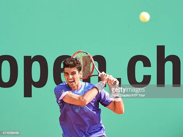 Thomaz Bellucci of Brazil in action winning the final match against Joao Sousa of Portugal at the Geneva Open at Parc des EauxVives on May 23 2015 in...