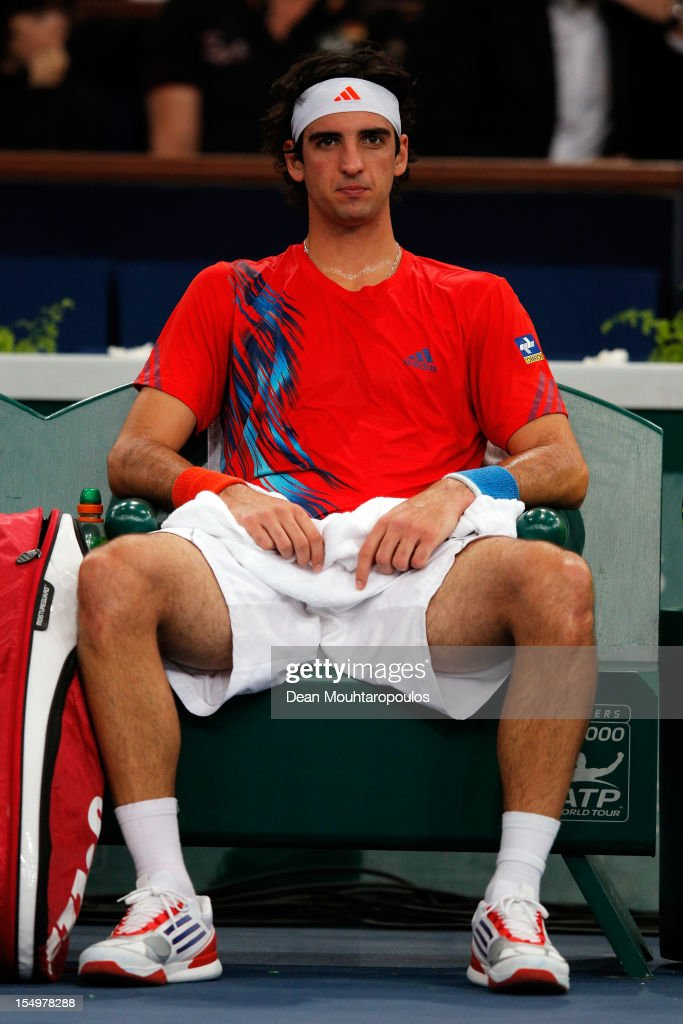 Thomaz Bellucci of Brazil looks on in his match against Kevin Anderson of South Africa during day 1 of the BNP Paribas Masters at Palais Omnisports de Bercy on October 29, 2012 in Paris, France.