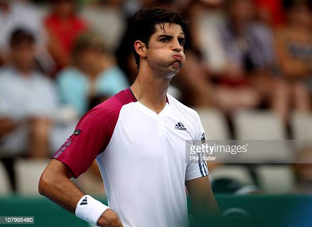 Thomaz Bellucci of Brazil looses a point during his match against Michael Russell of the USA on day two of the Heineken Open at ASB Tennis Centre on...