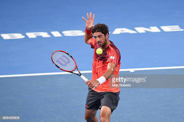 Thomaz Bellucci of Brazil plays a backhand against David Goffin of Belgium during day three of the 2016 Brisbane International at Pat Rafter Arena on...