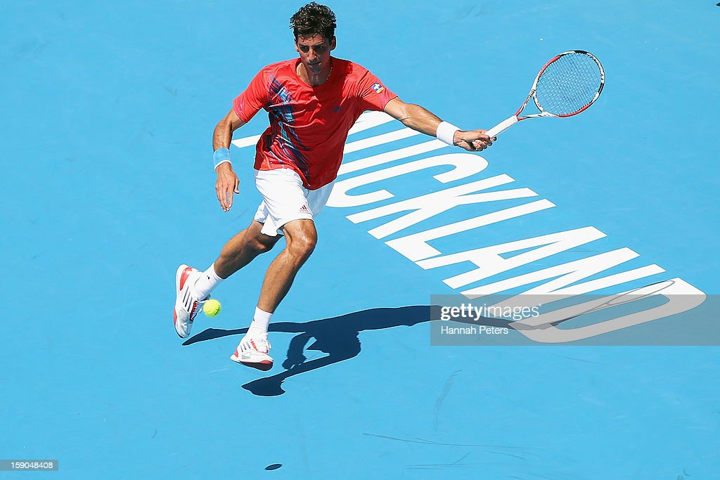 <a gi-track='captionPersonalityLinkClicked' href=/galleries/search?phrase=Thomaz+Bellucci&family=editorial&specificpeople=2984084 ng-click='$event.stopPropagation()'>Thomaz Bellucci</a> of Brazil plays a forehand during his first round match against David Goffin of Belgium during day one of the Heineken Open at ASB Tennis Centre on January 7, 2013 in Auckland, New Zealand.