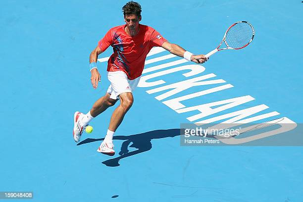 Thomaz Bellucci of Brazil plays a forehand during his first round match against David Goffin of Belgium during day one of the Heineken Open at ASB...