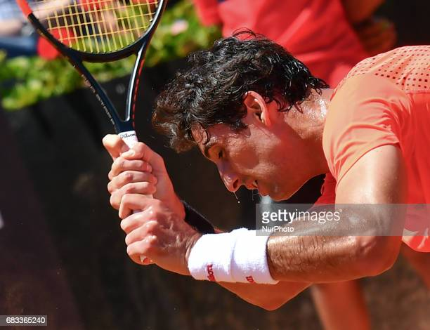 Thomaz Bellucci reacts during his match against David Goffin Internazionali BNL d'Italia 2017 on May 15 2017 in Rome Italy