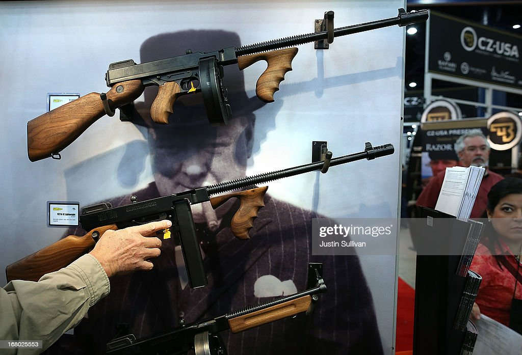 Thompson machine guns are displayed during the 2013 NRA Annual Meeting and Exhibits at the George R. Brown Convention Center on May 4, 2013 in Houston, Texas. More than 70,000 peope are expected to attend the NRA's 3-day annual meeting that features nearly 550 exhibitors, gun trade show and a political rally. The Show runs from May 3-5.
