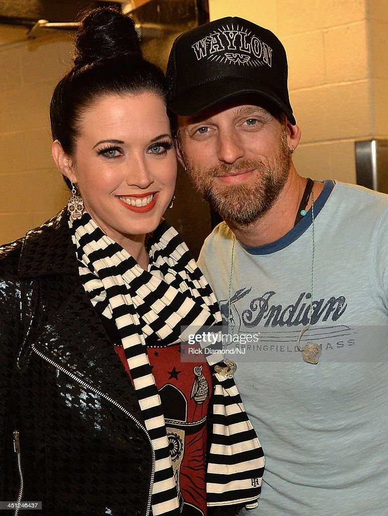Thompson Square's Shawna and Keifer Thompson backstage during rehearsals of Playin' Possum! The Final No Show Tribute To George Jones at Bridgestone Arena on November 21, 2013 in Nashville, Tennessee.