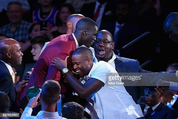 Thon Maker celebrates after being drafted 10th overall by the Milwaukee Bucks in the first round of the 2016 NBA Draft at the Barclays Center on June...