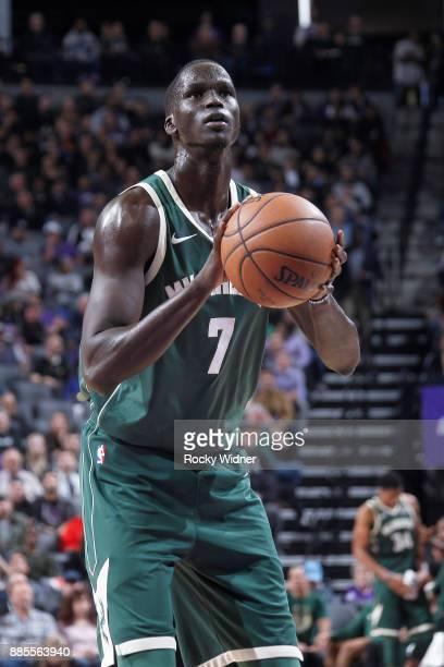 Thon Maker of he Milwaukee Bucks attempts a freethrow shot against the Sacramento Kings on November 28 2017 at Golden 1 Center in Sacramento...