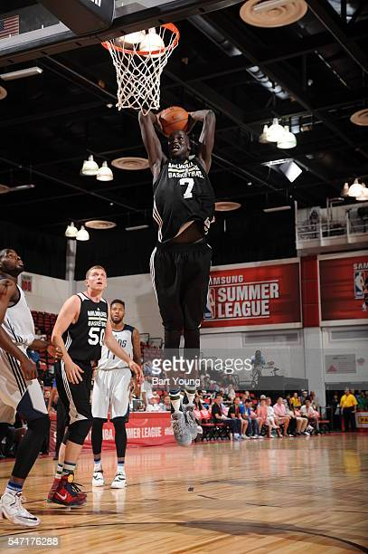 Thon Maker of Milwaukee Bucks dunks against the Dallas Mavericks during the 2016 Las Vegas Summer League on July 13 2016 at the Cox Pavillon in Las...
