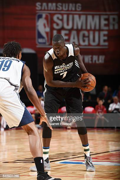 Thon Maker of Milwaukee Bucks handles the ball against the DLeague during 2016 Summer League on July 10 2016 at the Thomas Mack Center in Las Vegas...