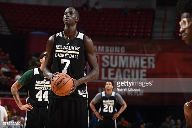 Thon Maker of Milwaukee Bucks shoots a free throw during the game against the Houston Rockets during the 2016 Las Vegas Summer League on July 15 2016...