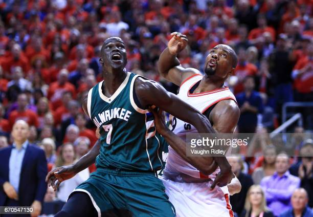 Thon Maker of the Milwaukee Bucks battles with Serge Ibaka of the Toronto Raptors in the second half of Game Two of the Eastern Conference...