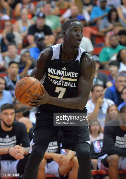 Thon Maker of the Milwaukee Bucks dribbles against the Brooklyn Nets during the 2017 Summer League game at the Cox Pavilion on July 9 2017 in Las...