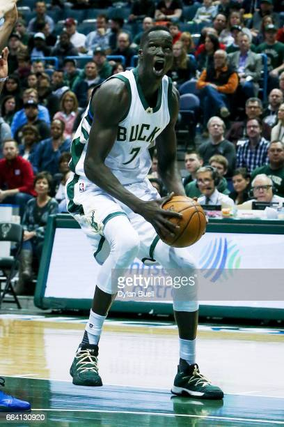Thon Maker of the Milwaukee Bucks drives to the basket in the first quarter against the Dallas Mavericks at BMO Harris Bradley Center on April 2 2017...