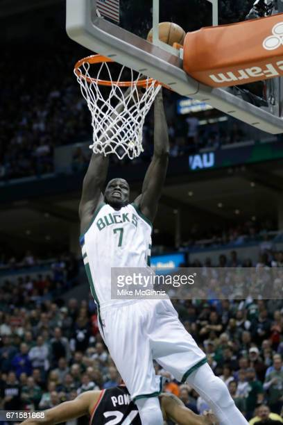 Thon Maker of the Milwaukee Bucks drives to the hoop and draws the foul against the Toronto Raptors during the first half of Game Four of the Eastern...