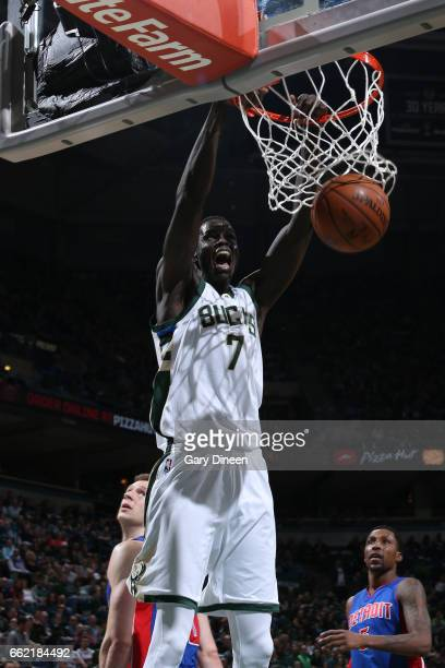 Thon Maker of the Milwaukee Bucks dunks against the Detroit Pistons on March 31 2017 at the BMO Harris Bradley Center in Milwaukee Wisconsin NOTE TO...