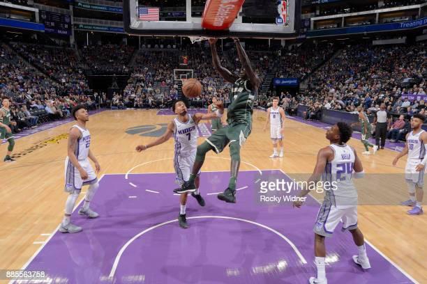 Thon Maker of the Milwaukee Bucks dunks against the Sacramento Kings on November 28 2017 at Golden 1 Center in Sacramento California NOTE TO USER...