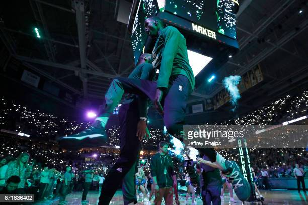 Thon Maker of the Milwaukee Bucks enters the court before the game against the Toronto Raptors during Game Four of the Eastern Conference...