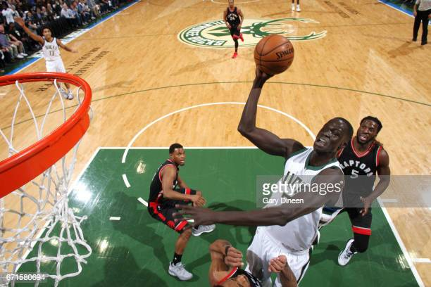 Thon Maker of the Milwaukee Bucks goes for a lay up during the game against the Toronto Raptors in Game Four during the Eastern Conference...