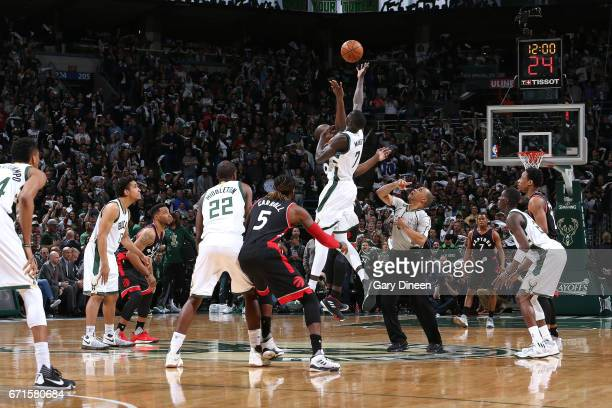 Thon Maker of the Milwaukee Bucks goes for the tip off against the Toronto Raptors in Game Four during the Eastern Conference Quarterfinals of the...