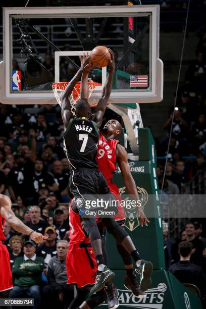 Thon Maker of the Milwaukee Bucks goes to the basket against Serge Ibaka of the Toronto Raptors during Game Three of the Eastern Conference...