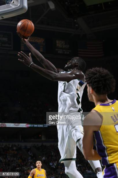 Thon Maker of the Milwaukee Bucks goes to the basket against the Los Angeles Lakers on November 11 2017 at the BMO Harris Bradley Center in Milwaukee...