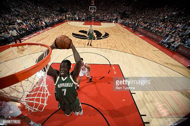 Thon Maker of the Milwaukee Bucks goes to the basket against the Toronto Raptors on January 27 2017 at the Air Canada Centre in Toronto Ontario...