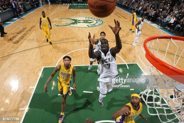 Thon Maker of the Milwaukee Bucks goes up for a rebound against the Los Angeles Lakers on November 11 2017 at the BMO Harris Bradley Center in...