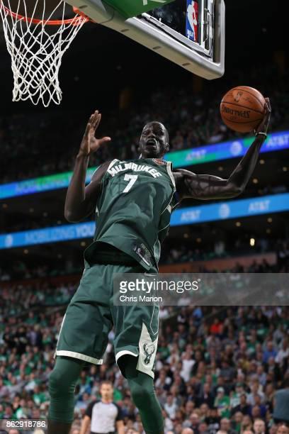 Thon Maker of the Milwaukee Bucks grabs the rebound against the Boston Celtics on October 18 2017 at the TD Garden in Boston Massachusetts NOTE TO...