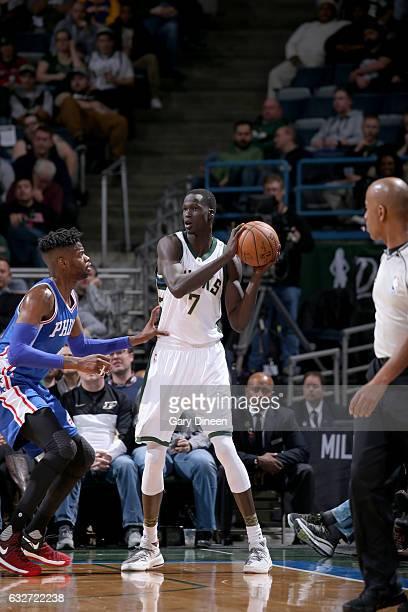 Thon Maker of the Milwaukee Bucks handles the ball against the Philadelphia 76ers on January 25 2017 at the BMO Harris Bradley Center in Milwaukee...