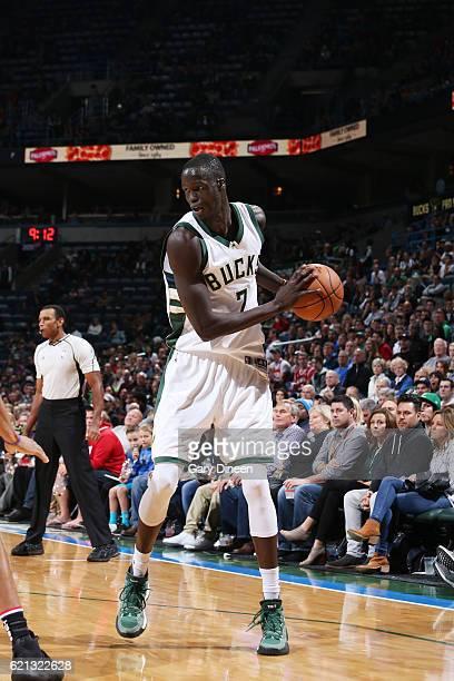 Thon Maker of the Milwaukee Bucks handles the ball against the Sacramento Kings on November 5 2016 at the BMO Harris Bradley Center in Milwaukee...