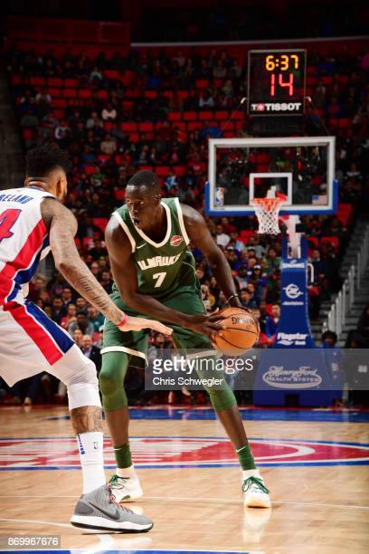 Thon Maker of the Milwaukee Bucks handles the ball against the Detroit Pistons on November 3 2017 at Little Caesars Arena in Detroit Michigan NOTE TO...