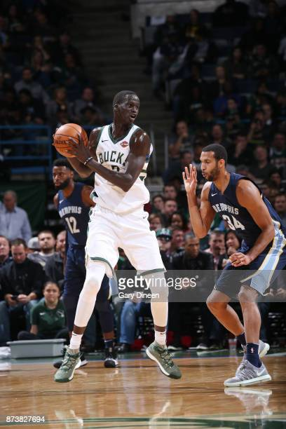 Thon Maker of the Milwaukee Bucks handles the ball against the Memphis Grizzlies on November 13 2017 at the BMO Harris Bradley Center in Milwaukee...