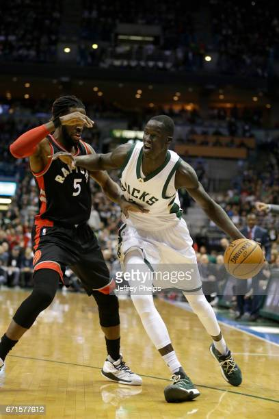 Thon Maker of the Milwaukee Bucks handles the ball against the Toronto Raptors during Game Four of the Eastern Conference Quarterfinals of the 2017...