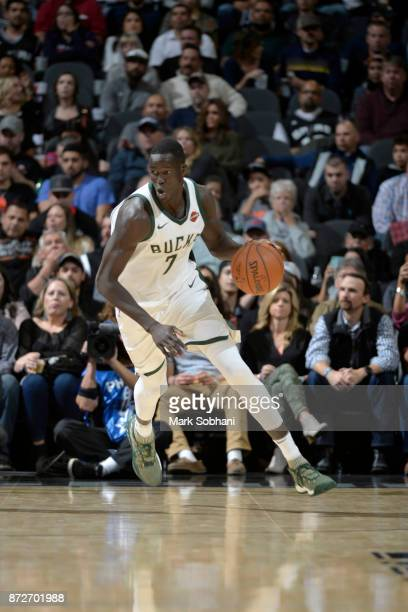 Thon Maker of the Milwaukee Bucks handles the ball against the San Antonio Spurs on November 10 2017 at the ATT Center in San Antonio Texas NOTE TO...