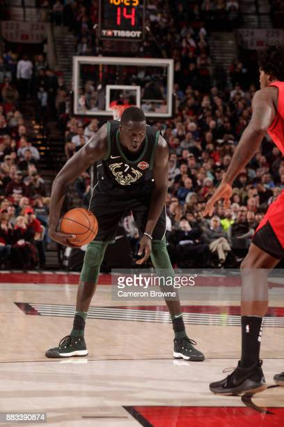 Thon Maker of the Milwaukee Bucks handles the ball against the Portland Trail Blazers on November 30 2017 at the Moda Center in Portland Oregon NOTE...
